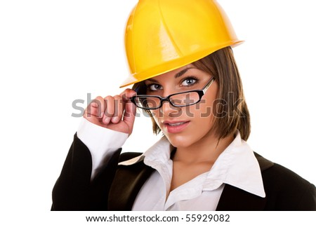 young sexy businesswoman with helmet and glasses