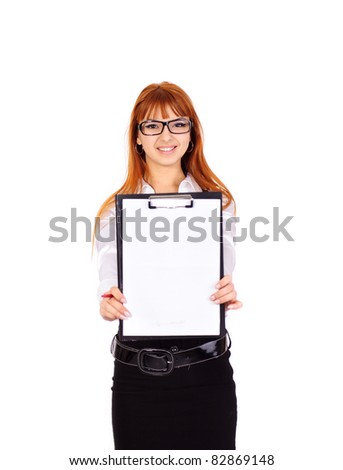 young sexy businesswoman with red hair hold folder and paper, isolated on white