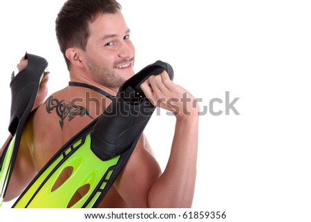 Young sexy caucasian man swimmer with goggles and holding flippers. Back view. Studio shot. White background. - stock photo
