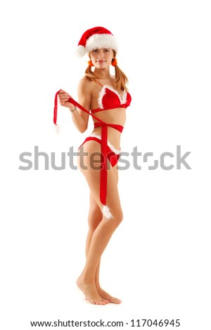 young sexy christmas woman like santa, full length studio portrait  over white background