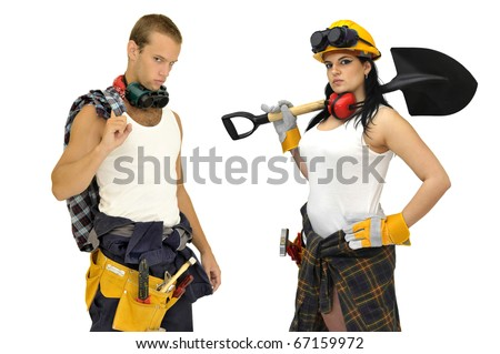 Young sexy construction workers team isolated in white - stock photo