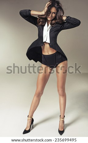 Young sexy female model - stock photo
