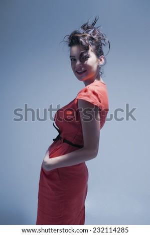 Young sexy girl model posing in fashion style - stock photo