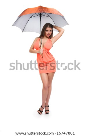 Young sexy girl on white isolated background - stock photo