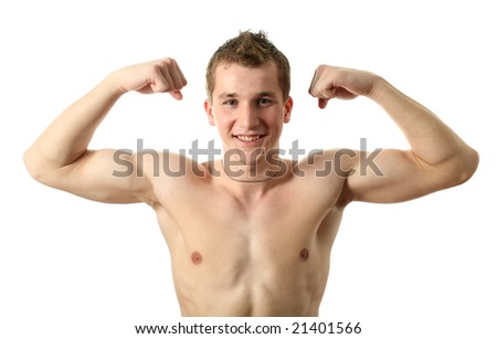 Young sexy man showing his biceps isolated on white