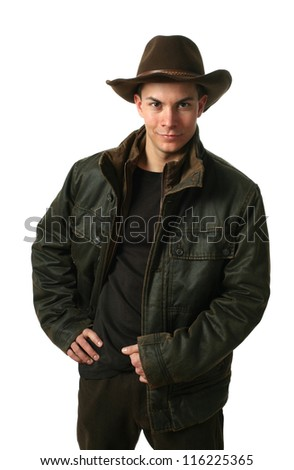 Young sexy man wearing winter clothes isolated on white - stock photo