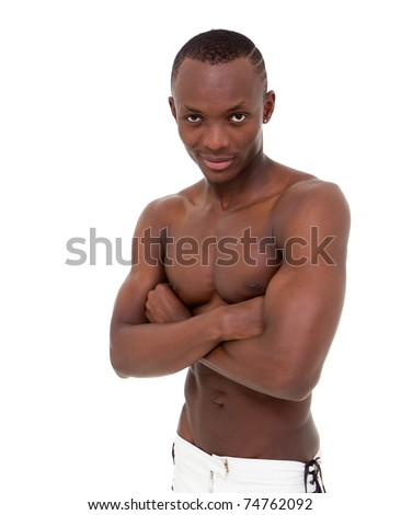 Young sexy man with muscular body isolated on a white background