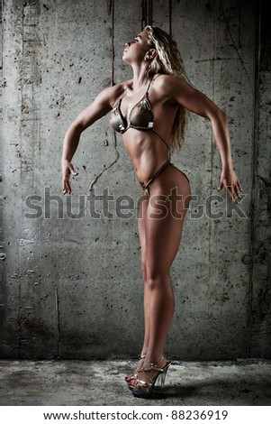 Young sexy muscular woman on wall background.