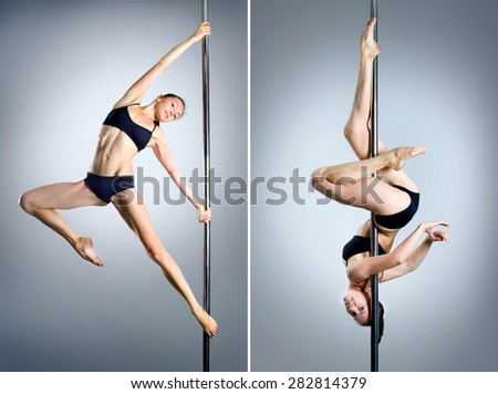 Young sexy pole dance woman. Collage - stock photo