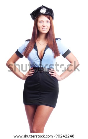 young sexy policewoman, isolated against white background - stock photo