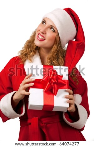 Young sexy Santa holding a gift box isolated on white - stock photo