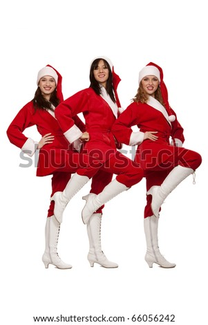 Young sexy Santas  isolated on white - stock photo