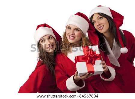 Young sexy Santas with a gift box isolated on white - stock photo