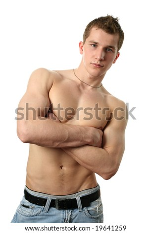 Young sexy shirtless muscular man isolated on white