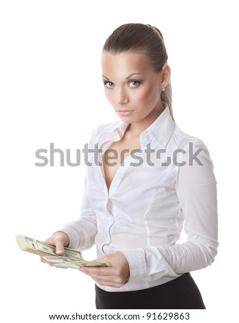 young sexy woman count a bundle of money - stock photo
