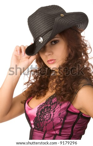 young sexy woman in black hat on white background