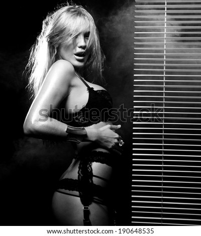 young sexy woman in black  lingerie - stock photo