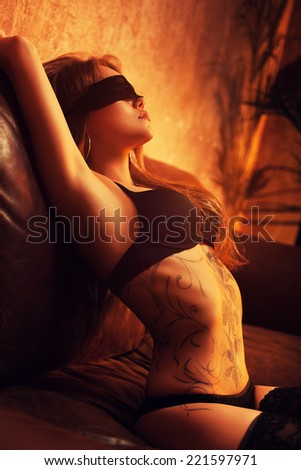 Young sexy woman in lingerie. - stock photo
