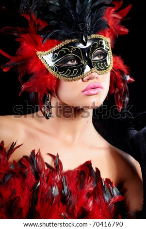 young sexy woman in violet party half mask. may be use for fashion makeup concept - stock photo