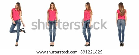 Young sexy woman isolated on white - stock photo