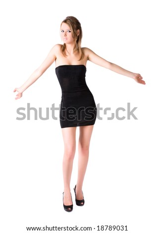 Young sexy woman shrug her shoulders. Isolated on white. - stock photo