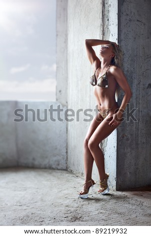 Young sexy woman standing indoors. - stock photo