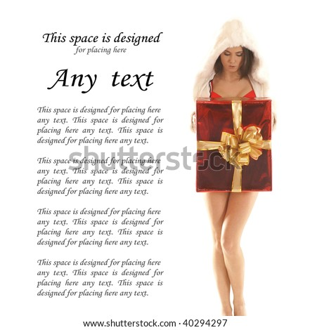 Young sexy woman with a big present isolated on white - stock photo
