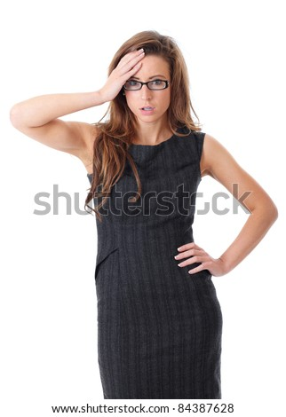 Young shocked or surprised businesswoman makes big eyes, isolated on white - stock photo