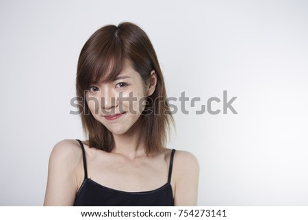 Young Short Hair Asian Girl On Stock Photo & Image (Royalty-Free ...