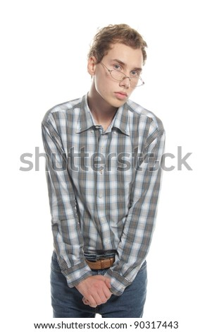 young shy man over white - stock photo