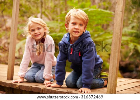Young siblings sitting on a bridge in a forest, portrait - stock photo