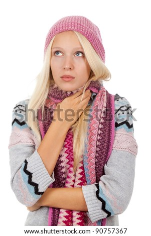 young sick girl got flu or cold, hold hand ill throat neck, wear wear winter knitted pink hat scarf and sweater, isolated over white background - stock photo