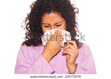 Young Sick Woman Blow Her Nose - stock photo