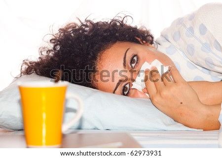 Young Sick Woman Lie on the Bed