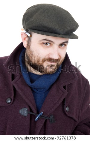 young silly man portrait, isolated on white