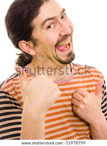 Young Silly man thumbs up, isolated over white background - stock photo