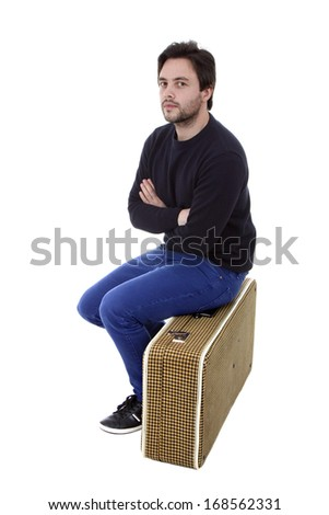 young silly man traveler, full body on white background - stock photo