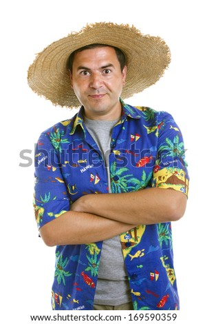young silly man traveler portrait on white background