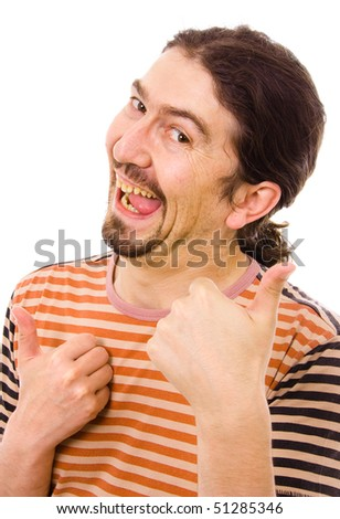 Young Silly man tumbs up, isolated over white background - stock photo