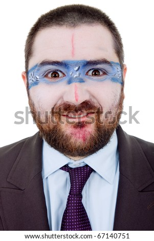 young silly man with a strange painted face, isolated
