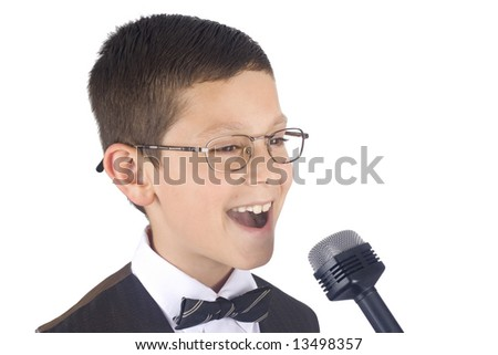 Young singer isolated on white background - stock photo