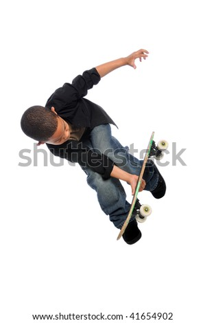 Young skateboarder jumping isolated over white background - stock photo
