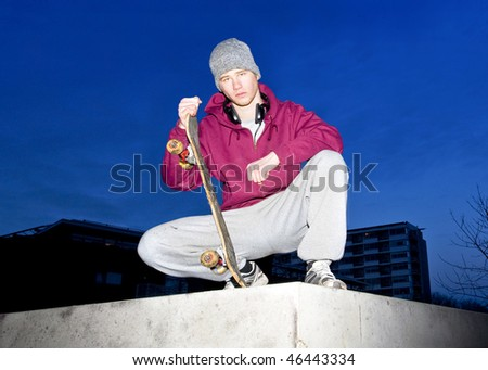 Young skateboarder posing on a concrete ledge - stock photo