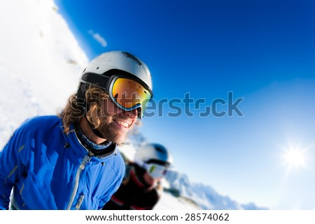 Young skier ready for a new day on the ski slopes. Italian Alps. - stock photo