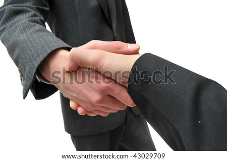 Young skinny businessman shaking another's hand - stock photo
