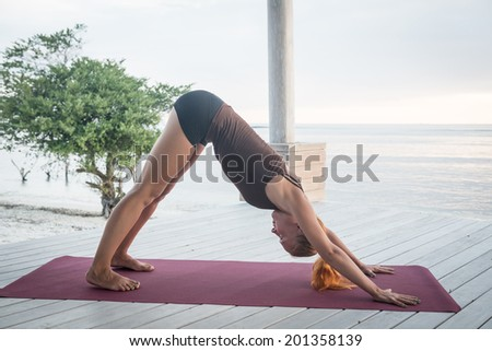 Young slim lady doing yoga downward facing dog on a beach with sunset over Bali in the background - stock photo
