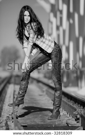 Young slim woman. Black and white. - stock photo