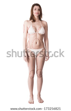 Young slim woman with plastic surgery marks all over full body - stock photo