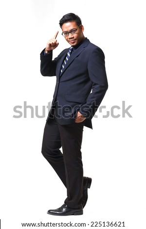 Young smart business man wear glasses in suit smile thinking some Idea isolated on white with clipping path - stock photo