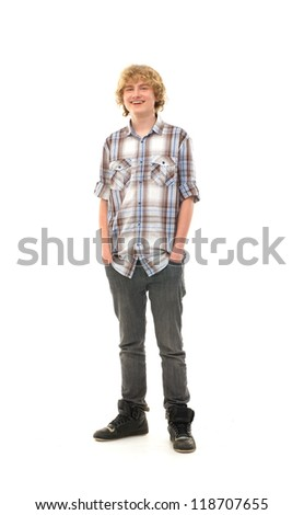 Young smart teenage boy isolated on white - stock photo
